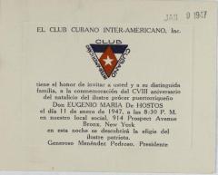 Club Cubano Interamericano invitation