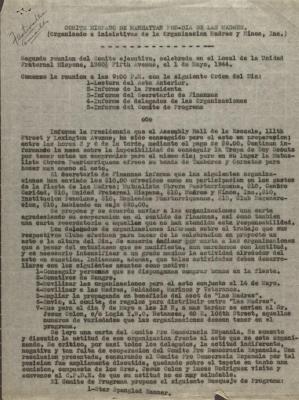 Report of the Second Reunion of the Comité Hispano de Manhattan Pro-Día De Las Madres