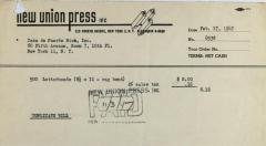 New Union Press receipt