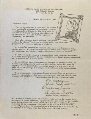 Correspondence from Comité Para El Día De Las Madres / Committee for Mother's Days