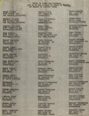 Lista de Todos Los Hermanos Que Se Le Han El Libro de Tablasa de Seguro de Nuestra Orden / List of All The Brothers That Have The Book of Insurance Tables of Our Order