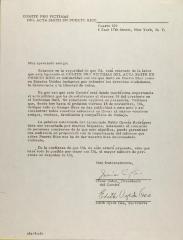 Correspondence from Pro Victimas Del Acta Smith En Puerto Rico