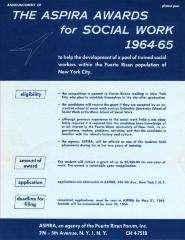 Announcement of The ASPIRA Awards for Social Work 1964-65