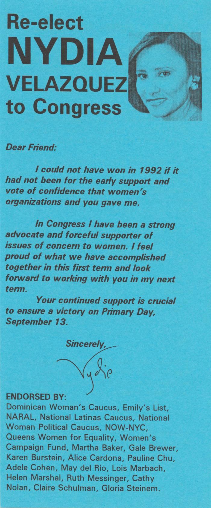 Flyer for the re-election of Nydia Velazquez to Congress