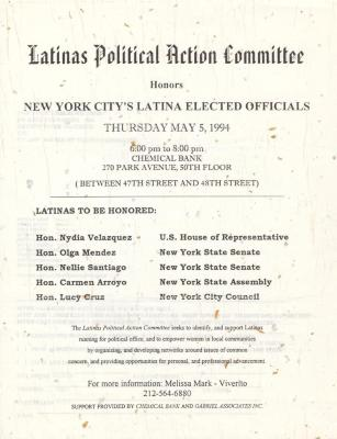Flyer from Latinas Political Action Committee honoring New York City's Latina Elected Officials