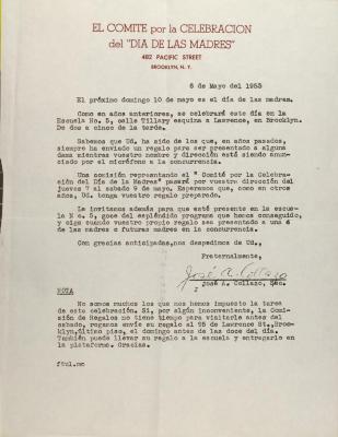 Correspondence from Comité Hispano de Manhattan Pro-Día De Las Madres
