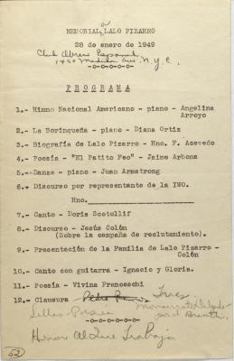 Programa - Memorial Lalo Pizarro