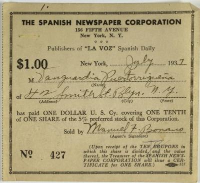 Spanish Newspaper Corporation payment receipt