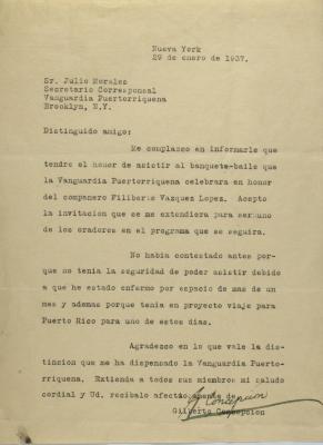 Correspondence from Gilberto Concepción de Gracia.
