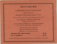 Mutualista Obrera Puertorriqueña invitation