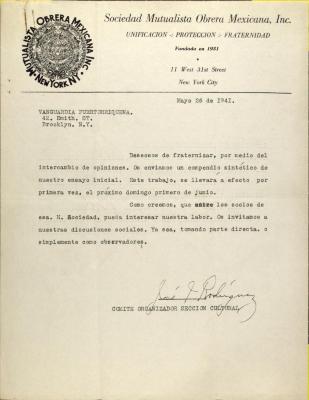 Correspondence from Sociedad Mutualista Obrera Mexicana