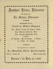 Festival Lírico Literario / Literary Lyric Festival
