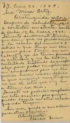 Correspondence from Claudio Ferrer