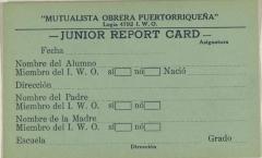 Mutualista Obrera Puertorriqueña - Junior Report Card