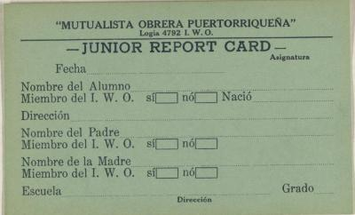 Mutualista Obrera Puertorriqueña - Junior Report Card
