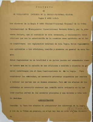 Proyecto de Reglamentos Internos de La Unidad Fraternal Hispana / Draft of Internal Regulations of the Unidad Fraternal Hispana