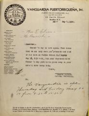 Correspondence from Vanguardia Puertorriqueña