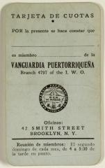 Membership card of La Vanguardia Puertorriqueña