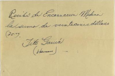 Vanguardia Puertorriqueña receipt note