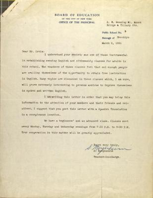 Correspondence from the Board of Education of New York City