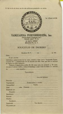 Vanguardia Puertorriqueña - Solicitud de Ingreso / Income Application