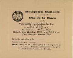 Recepción Bailable en Conmemoracion al Día de la Raza / Dance Reception in Commemoration of the Day of La Raza