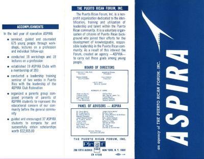 The Puerto Rican Forum, Inc. ASPIRA brochure