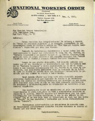 Correspondence from the International Workers Order
