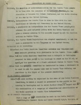 Resolution on Puerto Rico