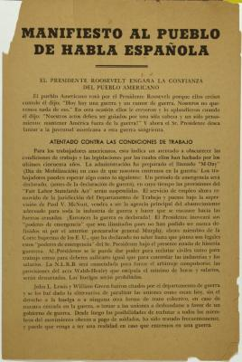 Manifiesto Al Pueblo De Habla Española / Manifesto To Spanish Speaking People  President Roosevelt deceives in the confidence of the American people