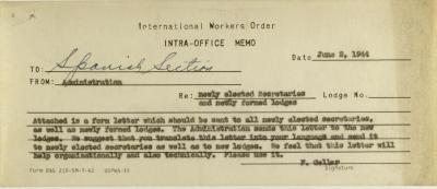 Correspondence from International Workers Order