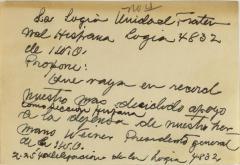 Correspondence to Cervantes Fraternal Society, IWO