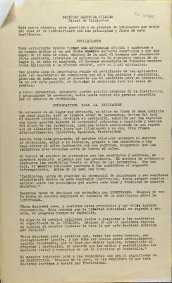 Sociedad Fraternal Benéfica Hidalgo, I.W.O. - Ritual de Iniciacion / Initiation Ritual