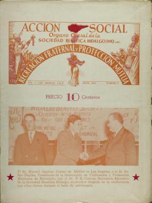 Accion Social - Organo Oficial de la Sociedad Fraternal Benéfica Hidalgo / Social Action - Official Organization of the Fraternal Beneficial Society Hidalgo