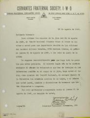 Correspondence from Jesús Colón of Cervantes Fraternal Society, I.W.O.