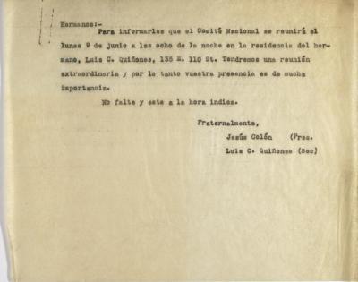 Correspondence from Jesús Colón and Luis C. Quiñones of El Comité Nacional De La Sección Hispánica