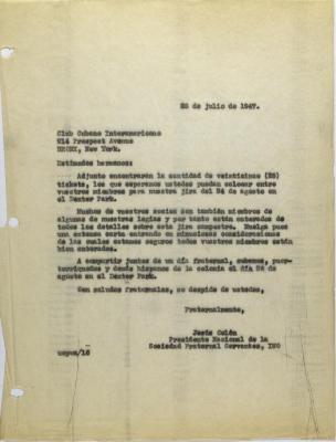 Correspondence from Jesús Colón of Sociedad Fraternal Cervantes