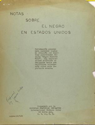 Notas Sobre El Negro En Estados Unidos / Notes on the Black Man in the United States