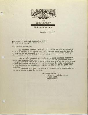 Correspondence from Club Fraternal Regeneración