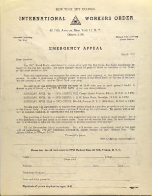 International Workers Order - Emergency Appeal