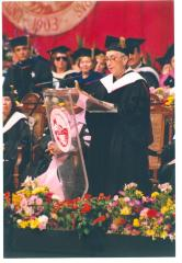 Pantoja giving graduation address at the University of Puerto Rico, Rio Piedras