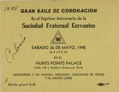 Gran Baile de Coronación en El Séptimo Aniversario de la Sociedad Fraternal Cervantes / Great Coronation Dance on The Seventh Anniversary of the Fraternal Society Cervantes