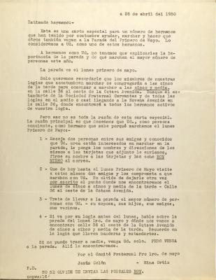Correspondence from Jesús Colón and Mina Ortiz