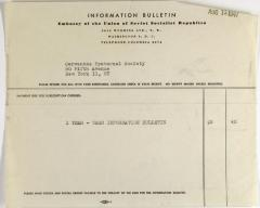 Embassy of the Union of Soviet Socialist Republics invoice statement