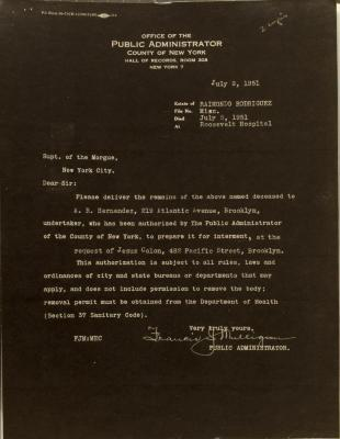 Correspondence from Office of the Public Administrator of New York
