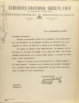 Correspondence from Jesús Colón of Cervantes Fraternal Society