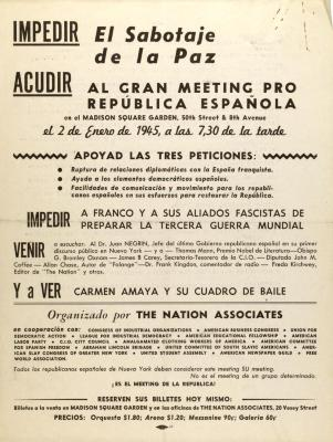 Al Gran Meeting Pro República Española / To the Grand Meeting for the Spanish Republic