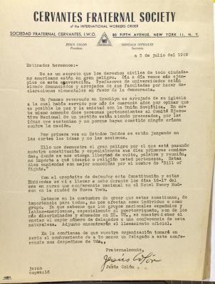 Correspondence from Jesús Colón of Cervantes Fraternal Society