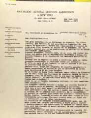 Correspondence from La Asociación de Artistas Hispano-Americanos