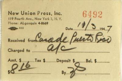 New Union Press, Inc. payment receipt